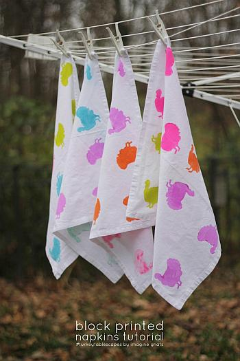 Block Print Turkey Napkins Tutorial - Imagine Gnats