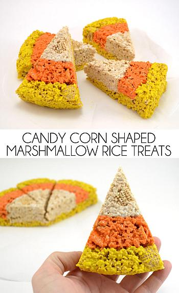 Candy Corn Marshmallow Treats - Dream a Little Bigger