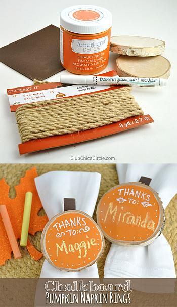 Chalkboard Pumpkin Napkin Rings for Thanksgiving - Club Chica Circle
