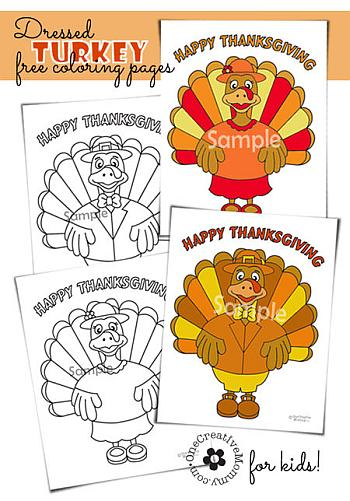 Dressed Turkey Coloring Page - One Creative Mommy