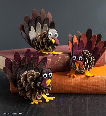 Felt And Pinecone Turkey Craft - Lia Griffith