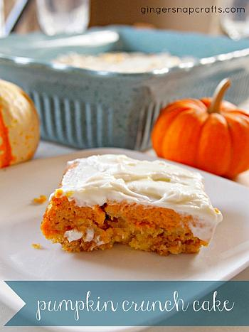 Pumpkin Crunch Cake with Cream Cheese Frosting - Ginger Snap Crafts