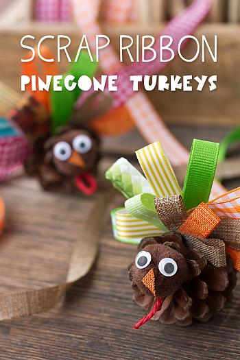 Scrap Ribbon Pine Cone Turkeys - Fireflies and Mudpies