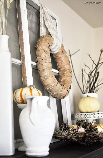 White Rustic Fall Mantel - Cherished Bliss